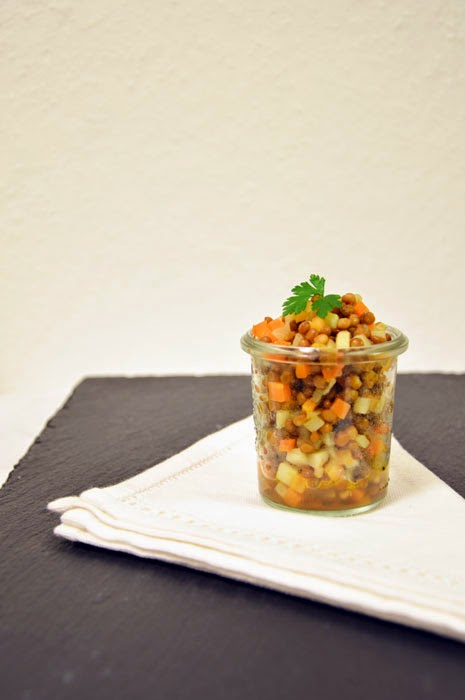 Linsensalat mit Kartoffeln und Möhren