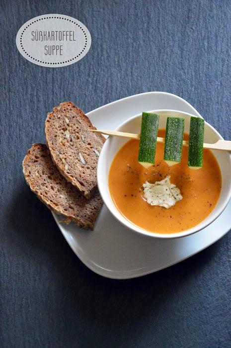 Süßkartoffel Suppe mit Zucchini