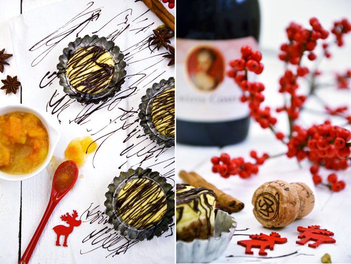 Ein vegetarisches Weihnachtsmenü - Das Dessert: Spekulatius-Cheesecake und Apfel-Khaki Kompott