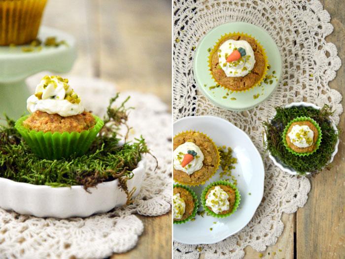 Möhrenmuffins mit Frischkäse und Pistazien