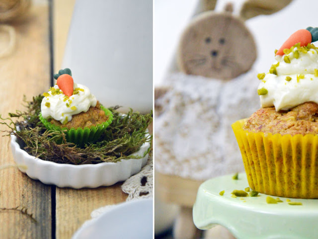 Ostern steht vor der Tür! Wie wäre es mit Möhrenmuffins mit Frischkäse und Pistazien!