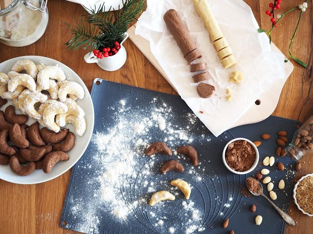Meine liebsten Rezepte für Vanillekipferl mit Puderzucker, Schokokipferl mit weißer Schokolade und Mürbeteigplätzchen mit Marmelade