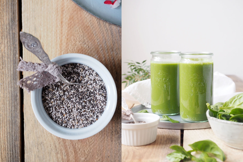 Grüner Smoothie mit Spinat, Chia und Radieschen [Blogevent - reCreate]