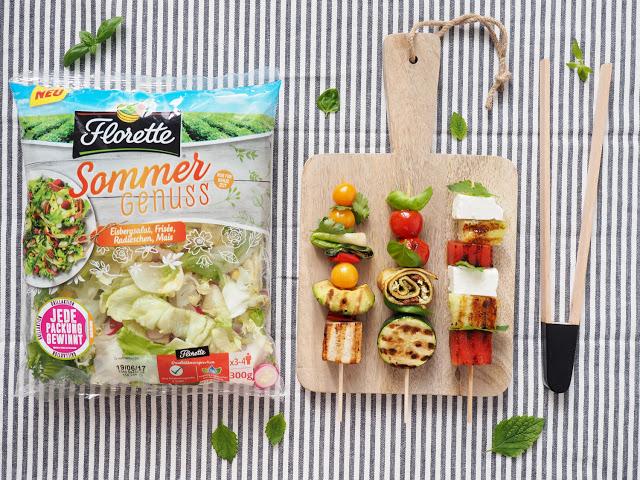 Die drei besten Grillspieße als Topping für deinen Sommersalat - Mein Beitrag zur Florette #bbqueen