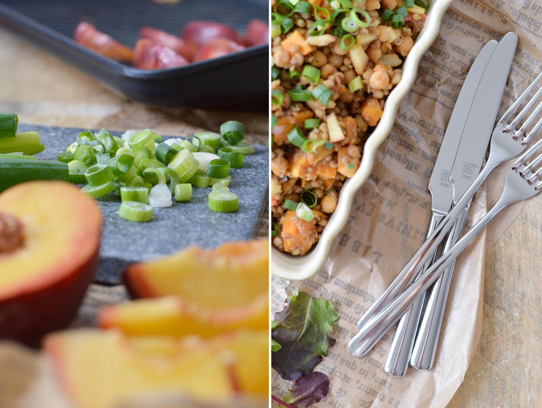 Linsensalat mit Süßkartoffeln und gebratenem Pfirsich