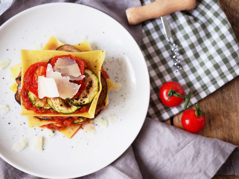 Open Lasagne mit gegrilltem Gemüse