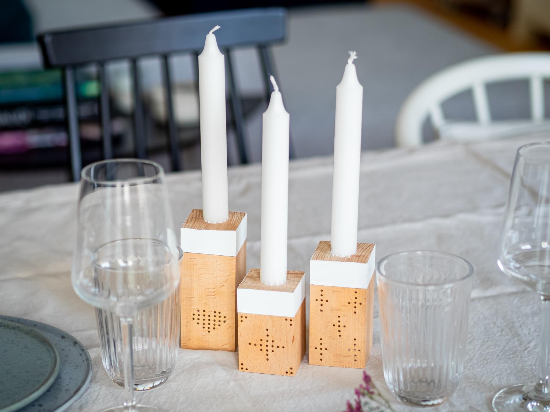 DIY - Holzkerzenständer zum Valentinstag im Scandi-Stil